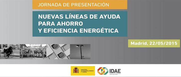 Cartel de la Jornada nuevas líneas de ahorro y eficiencia energética.