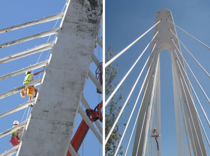 Trabajos de mejora en los anclajes del Puente.