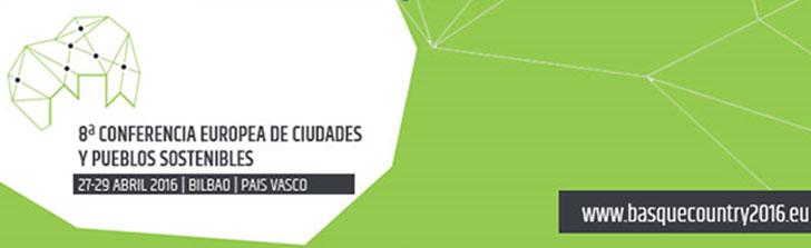 Cartel de la 8ª Conferencia Europea de Ciudades y Pueblos Sostenibles.
