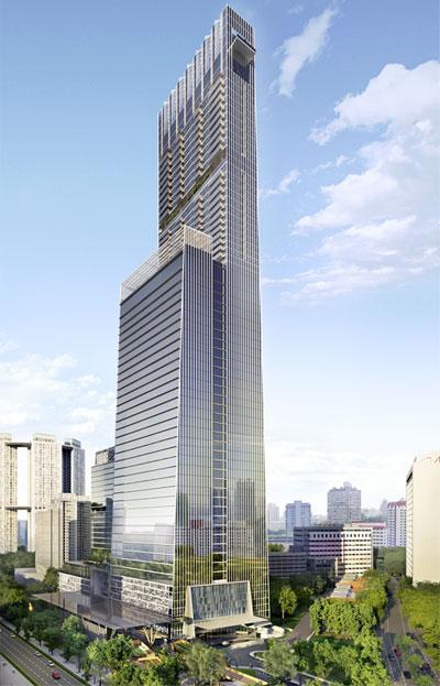 Torre de Singapur con vidrios fotovoltaicos.