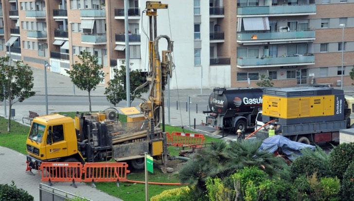 Obras para la implantación de la geotermia en  Montornés del Vallés.