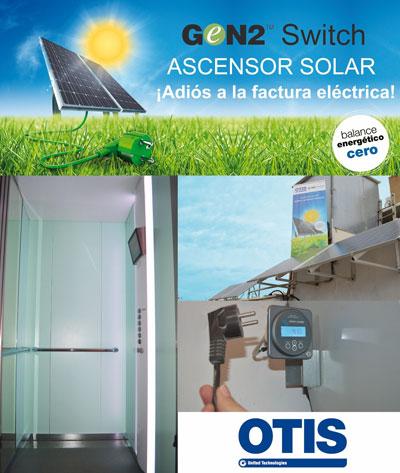 Cartel del primer ascensor solar en España.