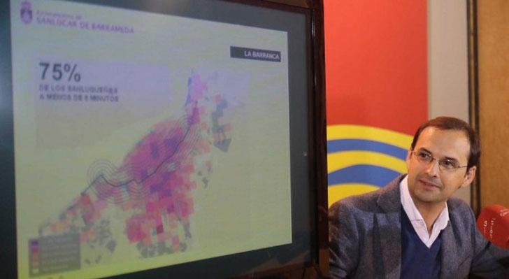 Alcalde de Sanlúcar, Víctor Mora, presentando la Estrategia de Desarrollo Urbano 2020.