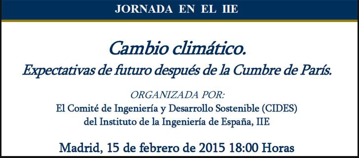 Jornada sobre expectativas del cambio climático tras la COP21.