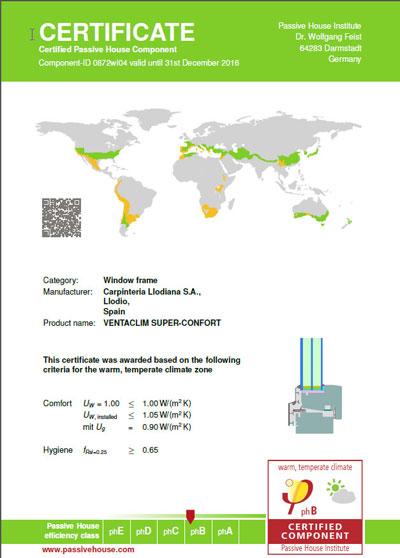 Certificado de Passivhaus del producto de Ventaclim.