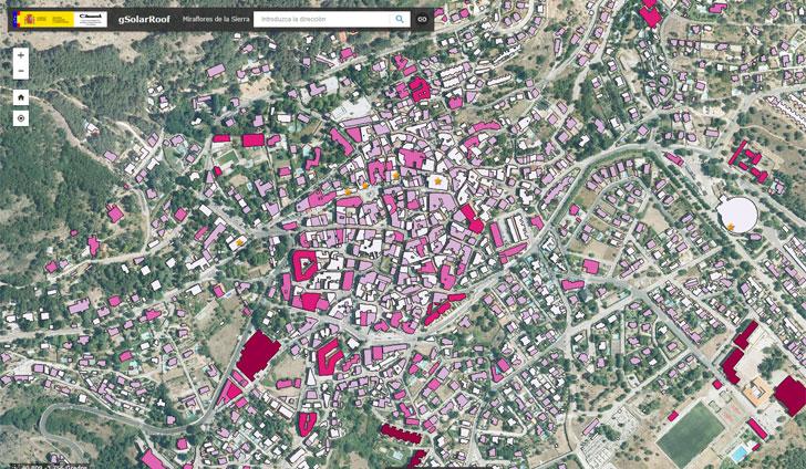 Mapa del potencial fotovoltaico de Miraflores.