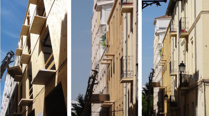 Evolución de la fachada durante la obra del edificio ecopasivo.
