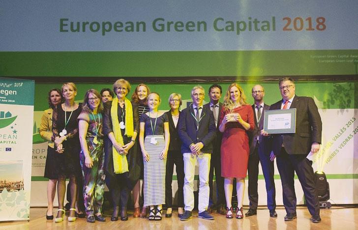 Anuncio de Nimega como capital verde europea 2018.