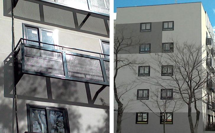 Fachada y ventanas tras la rehabilitación.