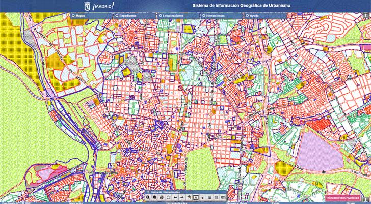 Visualizador urbanístico del Ayto Madrid a través del que se podrán consultar más de 1.600 expedientes de planeamiento urbanístico.