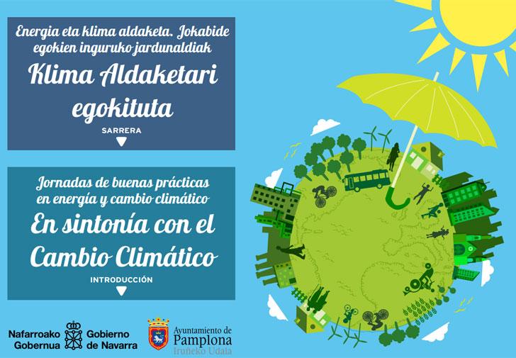 Cartel de las 5 jornadas que se celebrarán en Pamplona sobre buenas prácticas en Energía y Cambio Climático.