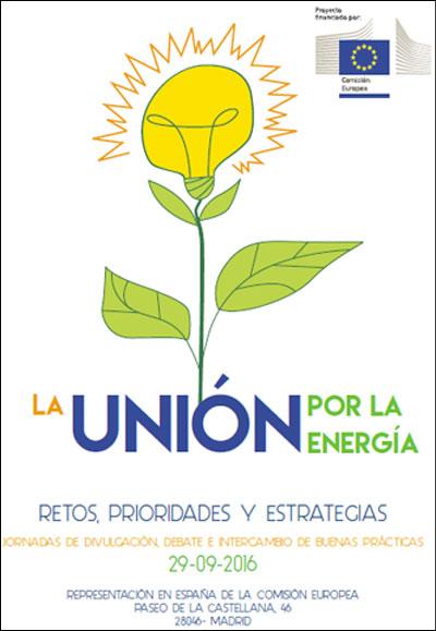 Cartel de la jornada sobre retos y estrategias energéticas en UE.