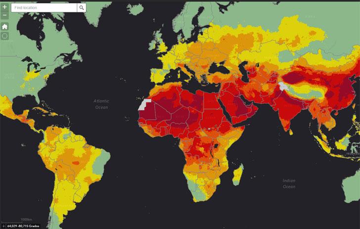 Mapa interactivo desarrollado por la Organización Mundial de la Salud sobre las muertes por efectos de la contaminación.