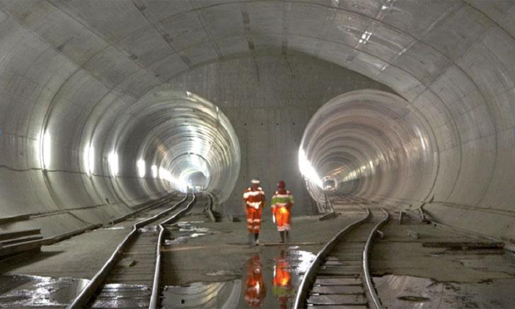 Túnel de San Gotardo en el que ha participado Sika realizando su impermeabilización.