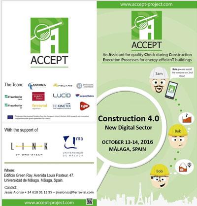 Cartel de presentación del proyecto ACCEPT en la Universidad de Málaga.
