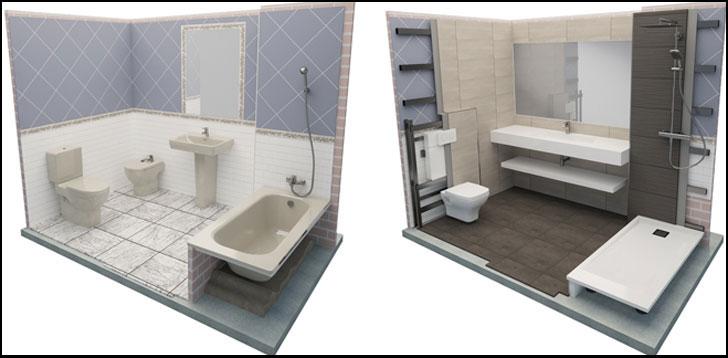 Baños industrializados de Conspace.