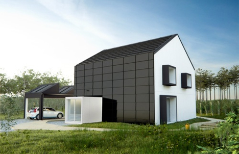 Demostrador sueco: Una de las dos viviendas ecoeficientes que se construirán, y que será utilizada para retransmitir en la televisión nacional sueca un reality show de una familia en una vivienda de estas características
