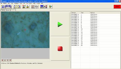 Captura de pantalla de una medida realizada con el nanoindentador