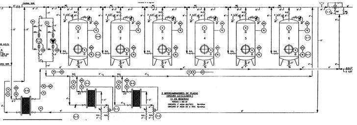 Esquema hidráulico original, de producción A.C.S. para el Hospital General Ciudad Real