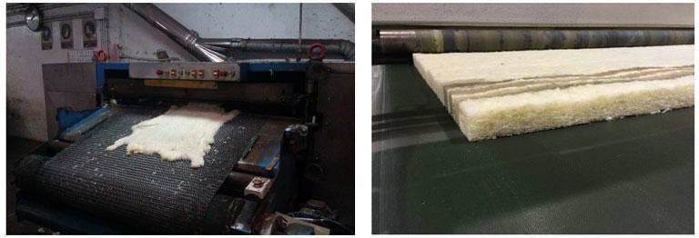 Figura 2. Tratamientos iniciales de las pieles en la fábrica de INPELSA y Figura 3. Panel de aislamiento al finalizar el proceso de cardado de la lana