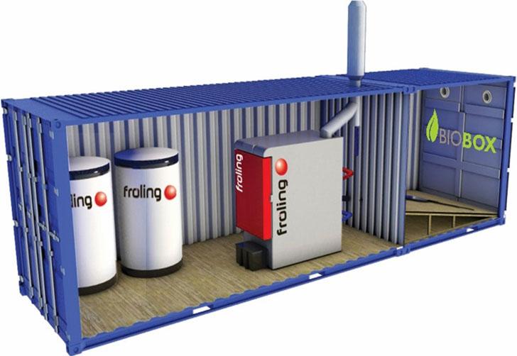 Contenedor Biobox con caldera de biomasa, silo y depósitos de inercia