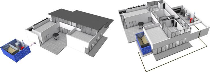 Muestra de algunas opciones de instalación: sala de calderas externa o solamente silo externo