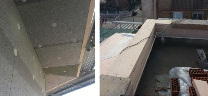 eliminación de puentes térmicos en aleros y petos de cubierta plana.