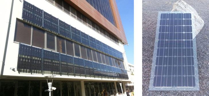 Vista de la fachada ventilada instalada. Unidad de vidrio fotovoltaico. Fuente: Onyx Solar