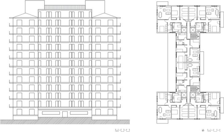Alzado norte y planta tipo del edificio objeto de estudio