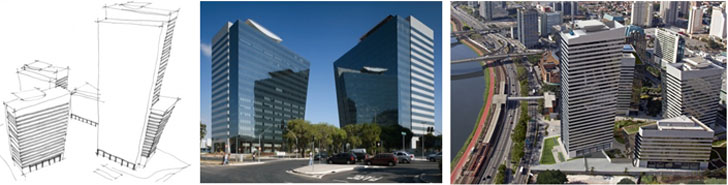 croquis vista de fachada del edificio y vista aérea.