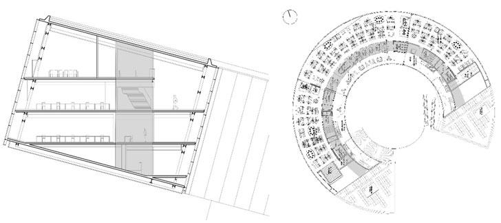 Sección central del edificio Zero y plano de la planta segunda donde se observa la galería de circulación orientada al sur y el espacio de trabajo orientado a norte