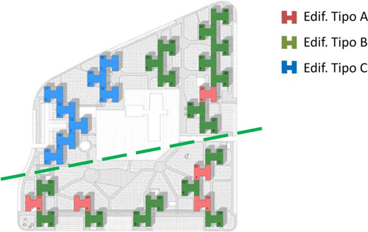Distrito residencial de Torrelago compuesto por 31 bloques. Tipología H. CCPP 1. 12 bloques