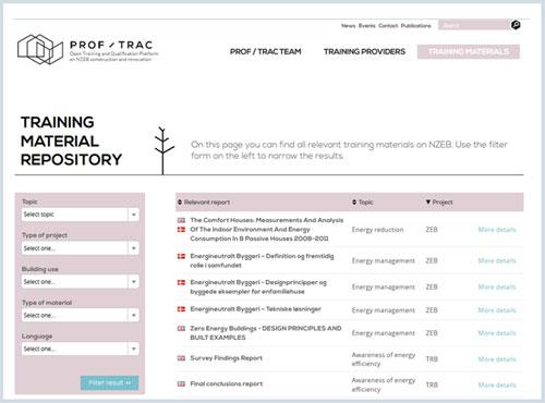 Web PROF/TRAC con el repositorio de material de formación disponible