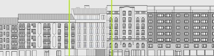 Hermosilla 106 y fachadas limítrofes.