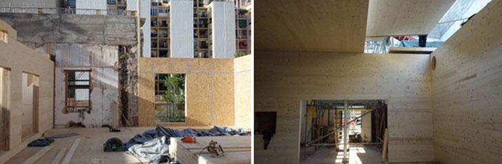 Relación entre la parte existente y la parte construida de nuevo y ampliada (izquierda) y sala de actos con estructura integra de madera contralaminada aparente (derecha)