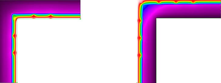 Figura 5. Puente térmico esquina saliente    Figura 6. Puente térmico esquina entrante