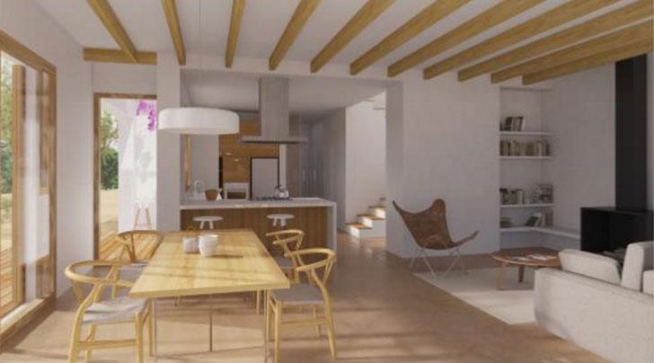 Visión exterior e interior de la vivienda unifamiliar pasiva