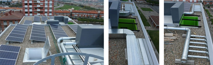 Detalles de sistemas: 88 paneles PV (izq.), conexión SolarWall (centro) y conexión Muro Trombe (dcha.)