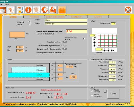Programa de cálculo desarrollado por CHRYSO, Flexo Tool