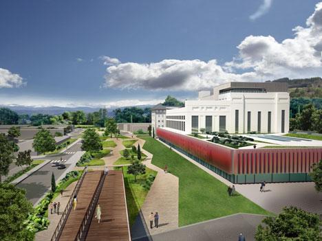 Infografía que representa el aspecto exterior de la sede central del MNE