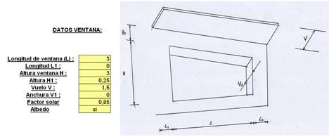 Definición del elemento acristalado y de los elementos de sombra