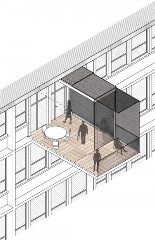 Plano de prototipo de balcón energéticamente eficiente creado por  INSA en colaboración con Kawneer.