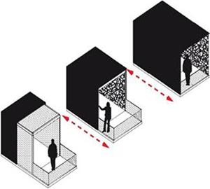 Plano de prototipo de balcón de energía eficiente creado por  INSA en colaboración con Kawneer.