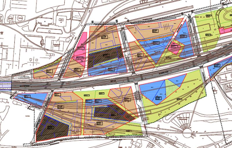 Plano del Plan General de la zona del Boulevard de Burgos.