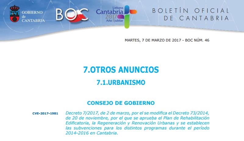 El Gobierno de Cantabria ha publicado el plan de ayudas a la rehabilitación de edificios y a la regeneración y renovación urbana.