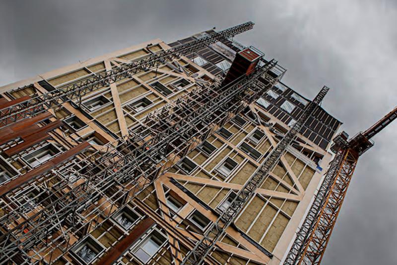 La madera contralaminada del edificio abarca 385 m3.