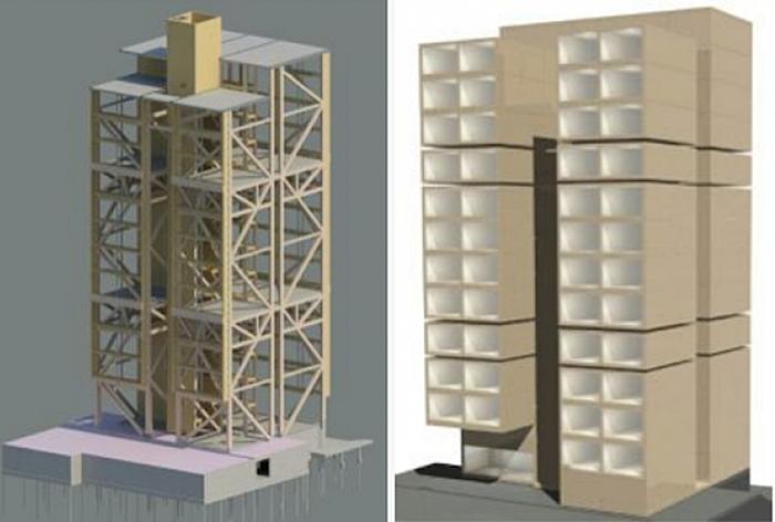 El proceso de construcción del edificio se dividió en tres etapas.