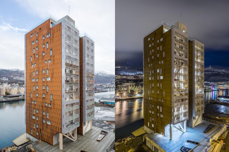 La madera utilizada en el edificio es flexible, resistente y más ligera que materiales como el hormigón o el acero.