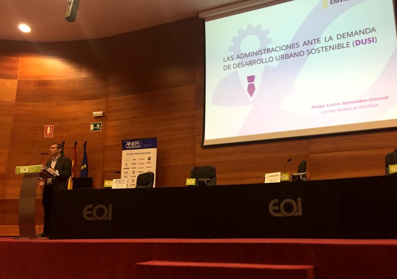 """En la sede de la EOI de Sevilla se ha celebrado la jornada""""Rehabilitación Eficiente de Edificios y Desarrollo Urbano Sostenible""""."""