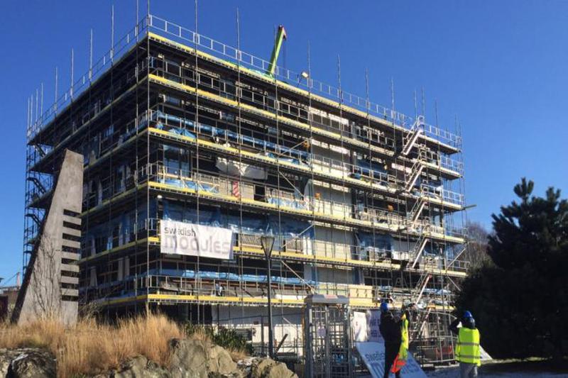 La estructura del edificio es temporal ya que está destinada a ser montada y desmontada después de diez años.